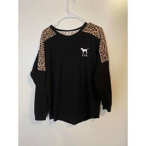 VS pink long sleeve leopard oversized